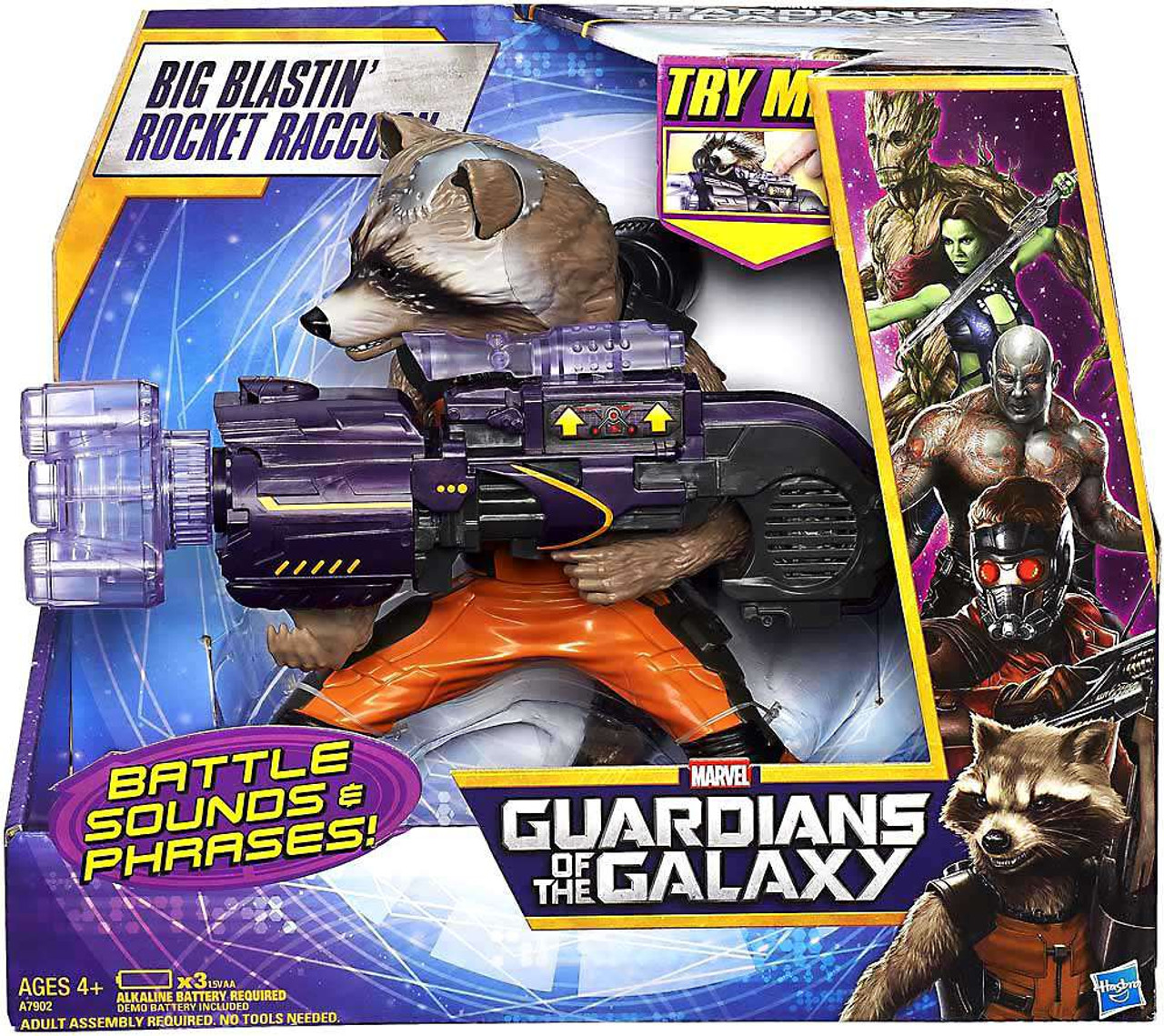 Marvel Guardians Of The Galaxy Big Blastin Rocket Raccoon Action Super Deluxe Vinyl Figure Damaged Package Hasbro Toys Toywiz