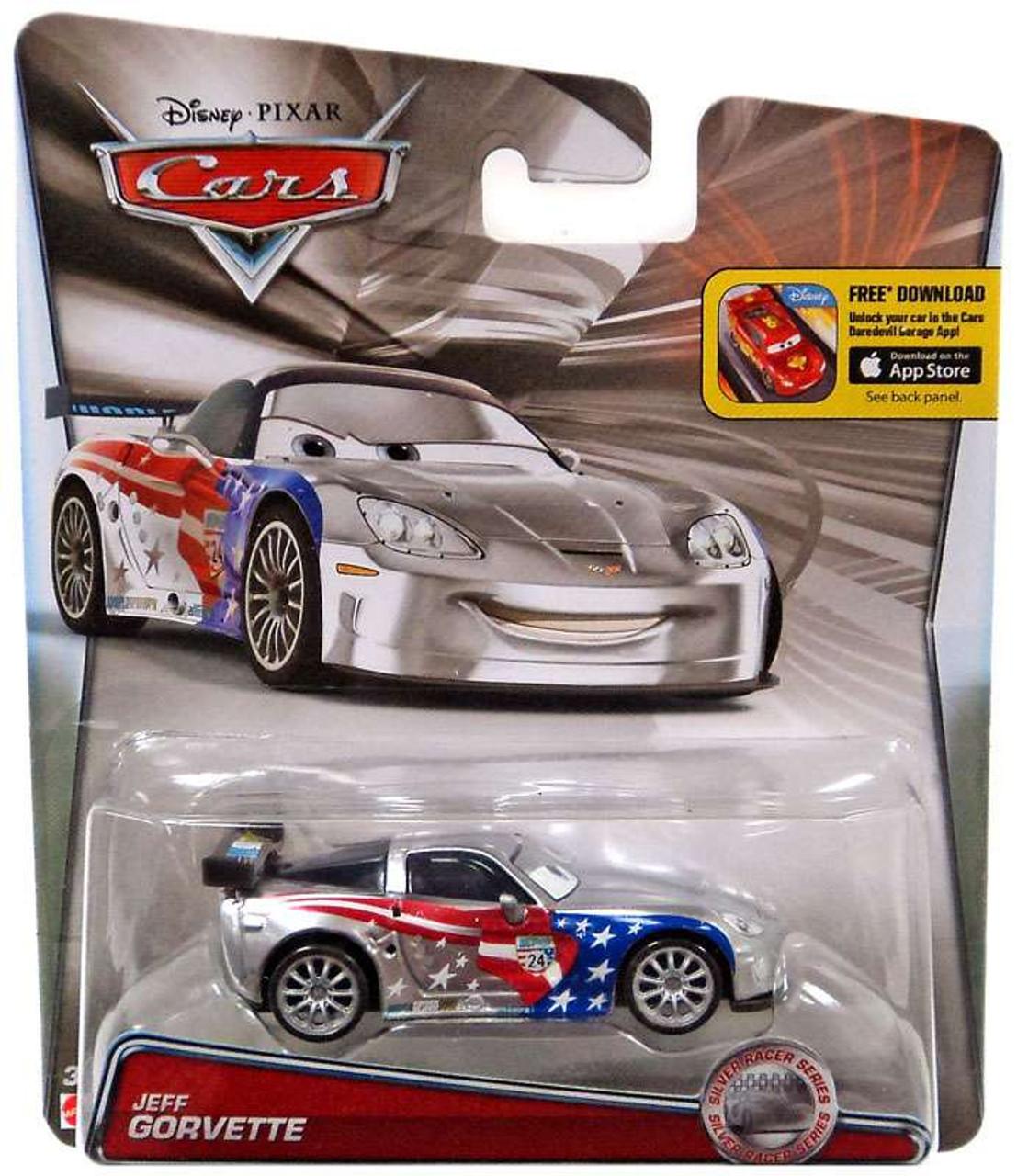 Disney Pixar Cars Silver Racer Series Jeff Gorvette 155 Diecast Car