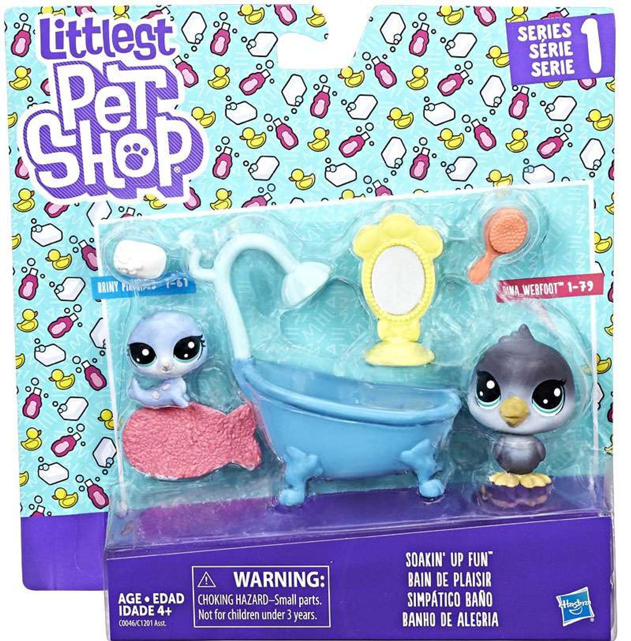 littlest pet shop series 1 bath time fun mini figure 2 pack hasbro