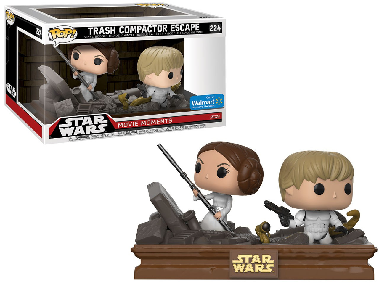Funko POP! Star Wars Trash Compactor Escape (Luke & Leia) Exclusive Vinyl Figure 2-Pack [Movie Moments]