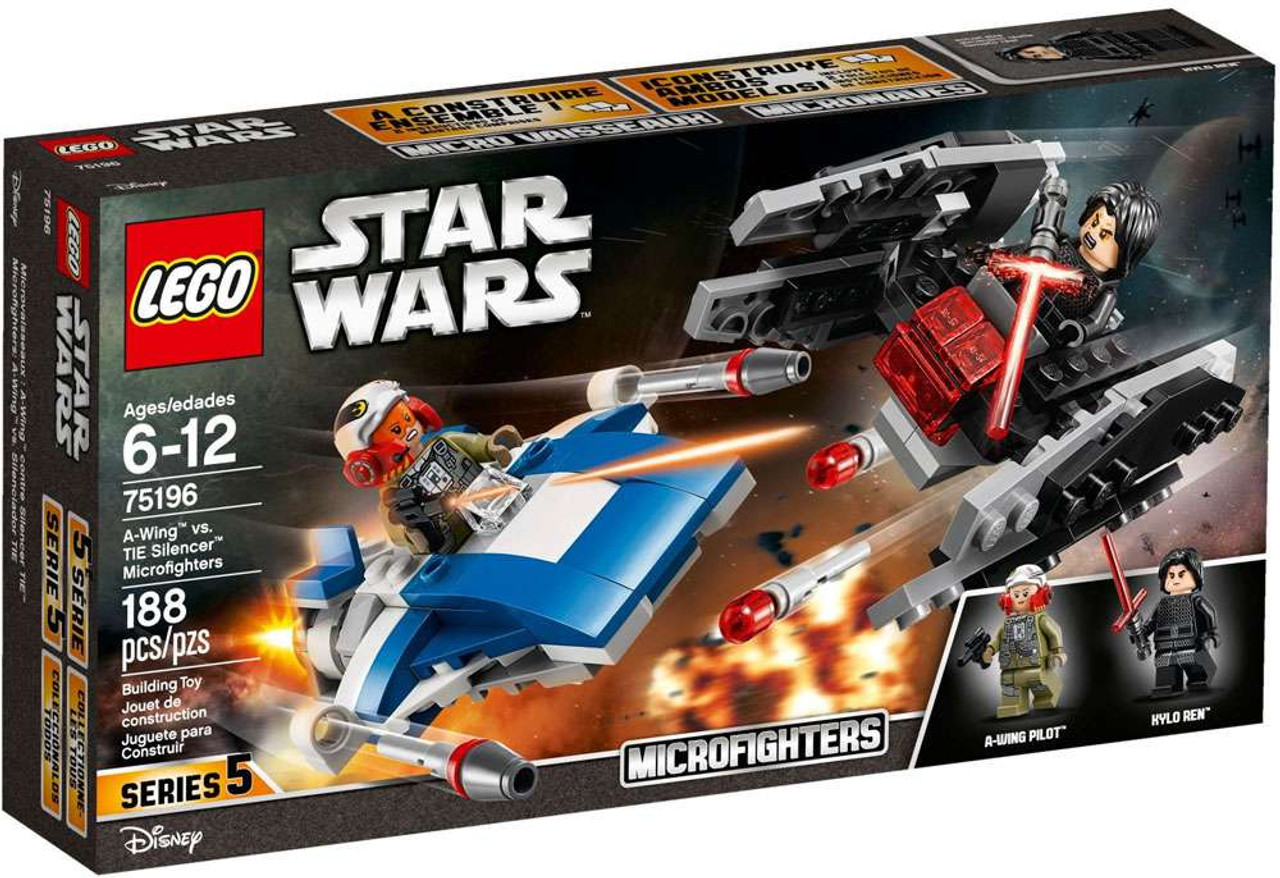 LEGO Star Wars Microfighters Series 5 A-Wing vs. TIE Silencer Set ...
