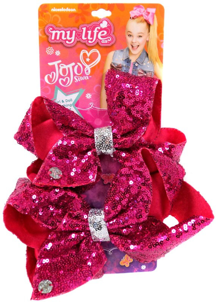 nickelodeon my life as jojo siwa girl doll matching pink sequin exclusive bow set