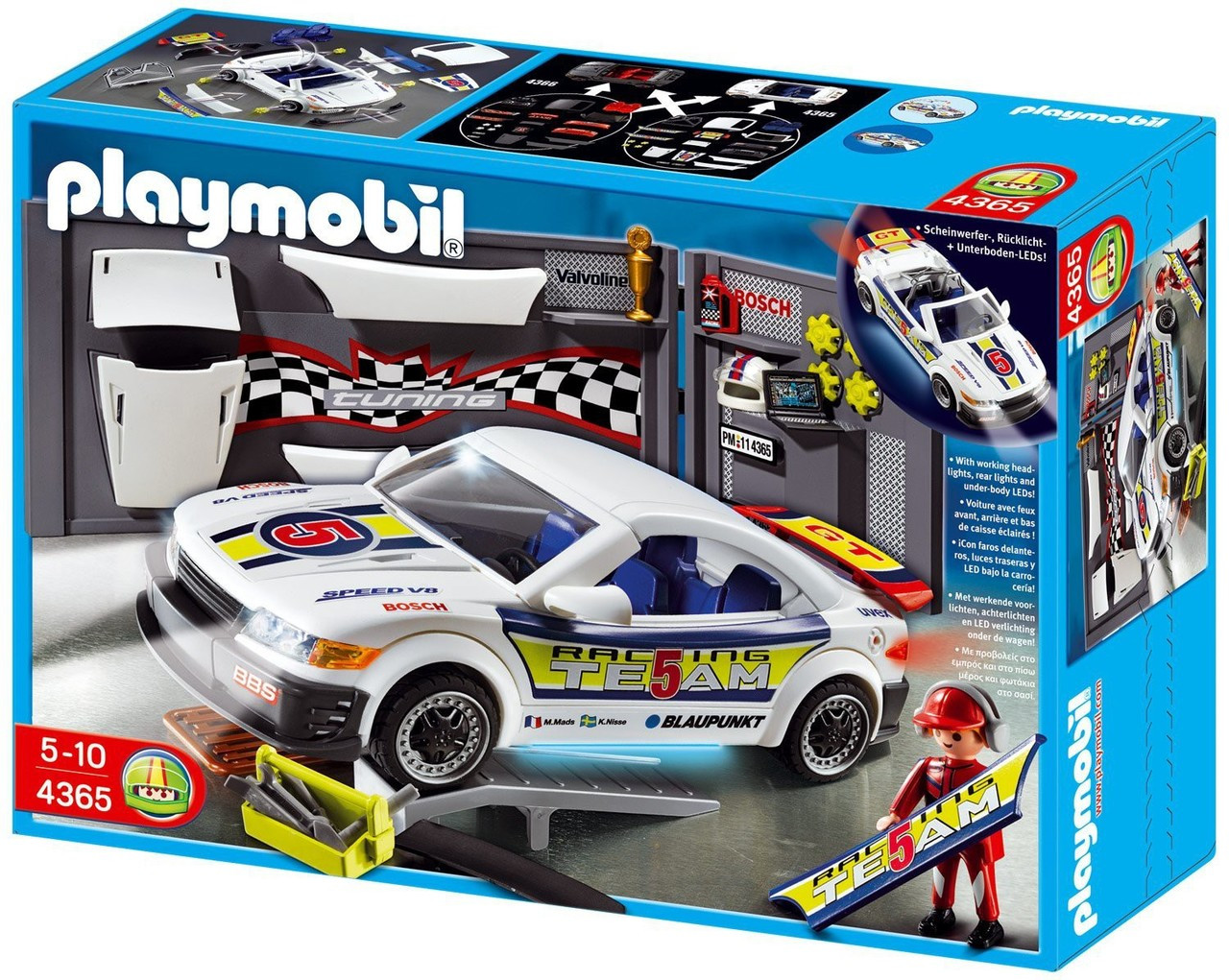Playmobil Police Car Repair Shop and Race Car with Headlights Set ...