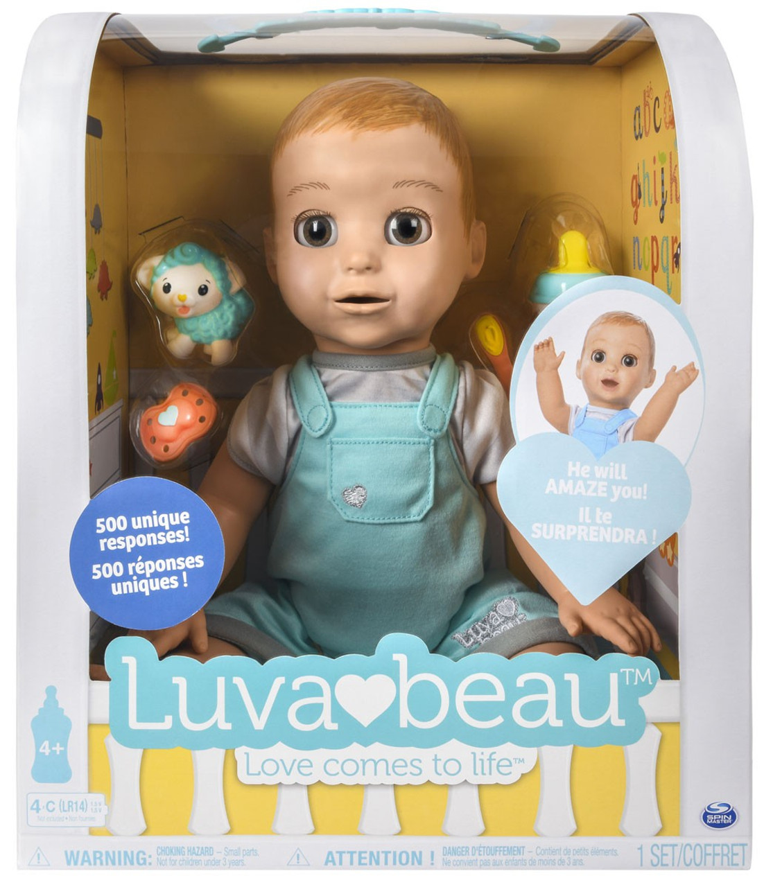 Luvabella Luvabeau Boy Responsive Baby Doll Light Blue Overalls Spin