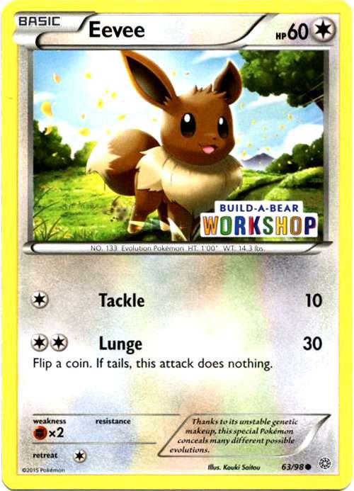 pokemon promo single card promo holo eevee 63 build a bear toywiz