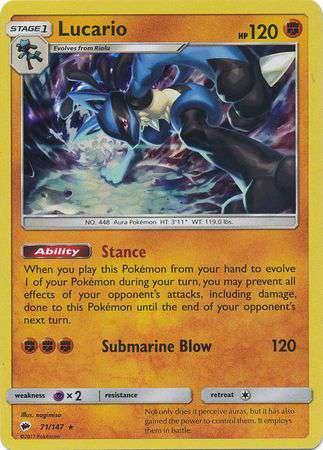 pokemon sun moon burning shadows single card rare holo lucario 71