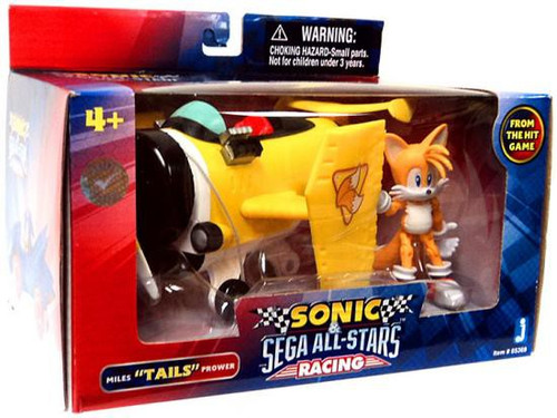 Sonic The Hedgehog Sega All-Stars Racing Miles Tails Prower with Plane 3.5 Figure Vehicle ...