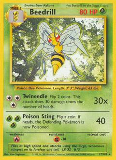 Wizards Of The Coast Pokemon Base Set Rare Beedrill #17