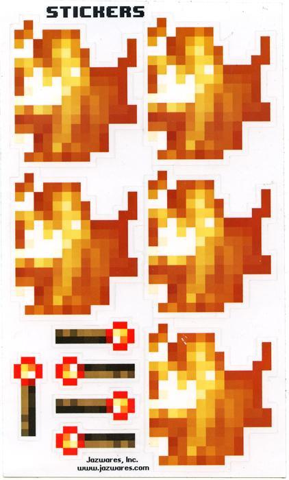 Minecraft Sticker Set Papercraft Fire Torch Single Piece Jazwares