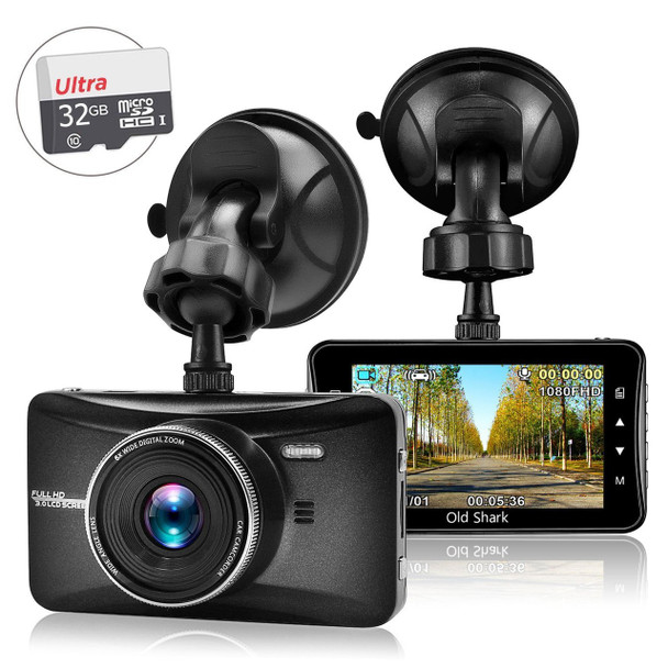 "OldShark 3"" 1080P Dash Cam with 32GB Card, 170 Wide Angle Car On Dash Video, G-Sensor, Night Vision, WDR, Parking Guard, Loop Recording Dashboard Camera Recorde"