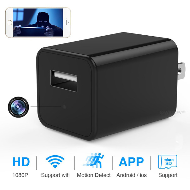 1080P HD USB Wall Charger Nanny Camera DVR-With Wireless Steaming Video For Pc, IPhone and All Mobile Devices