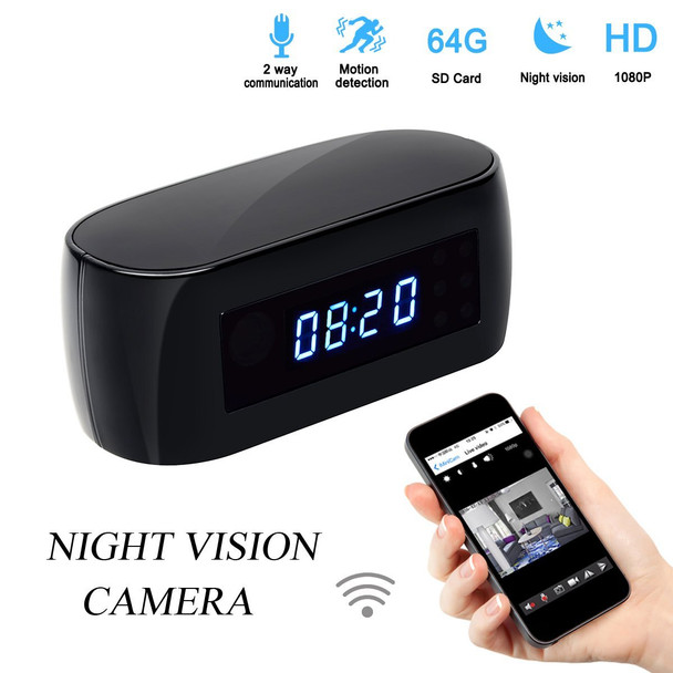 Alarm Clock Hidden Nanny Camera with Wifi, Motion Detection and Night Vision,Full HD 1080P