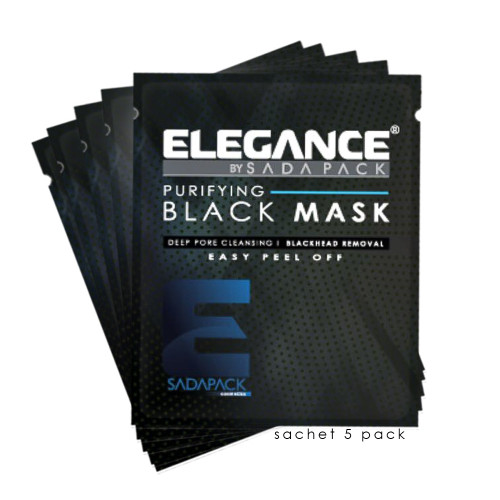 Black peel off facial mask sachets. Black mask sample packets.