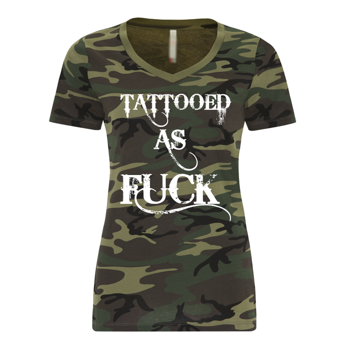 Women'S Tattooed As Fuck Green Camo - Tshirt
