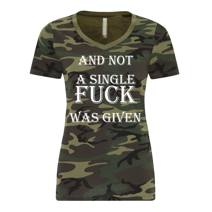 Women'S And Not A Single Fuck Was Given Green Camo - Tshirt
