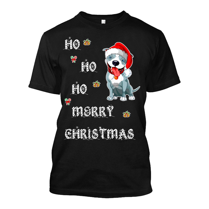 Men'S Ho Ho Ho Merry Christmas (Dog) - Tshirt