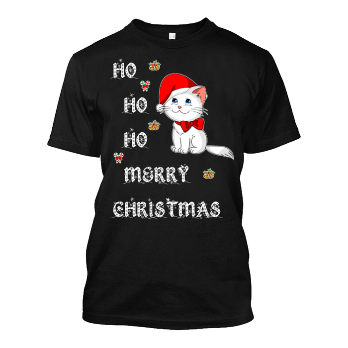 Men'S Ho Ho Ho Merry Christmas (Cat) - Tshirt
