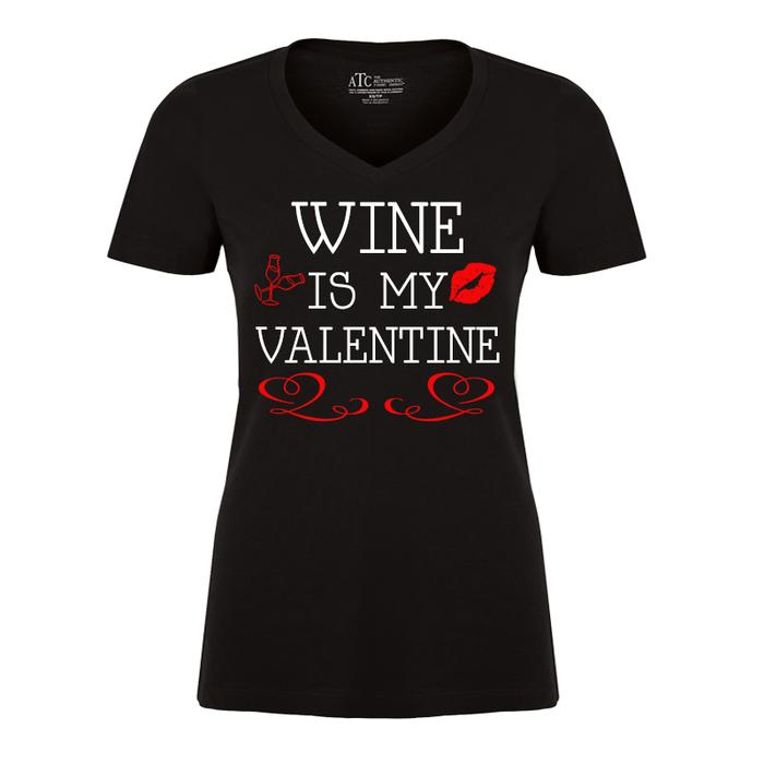 Women'S Wine Is My Valentine - Tshirt