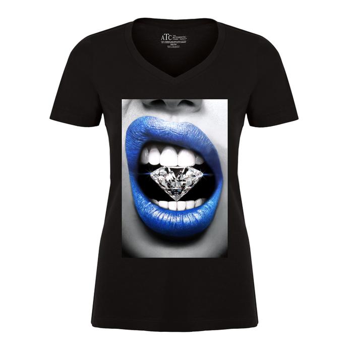 Women'S Blue Lips Biting Diamonds - Tshirt
