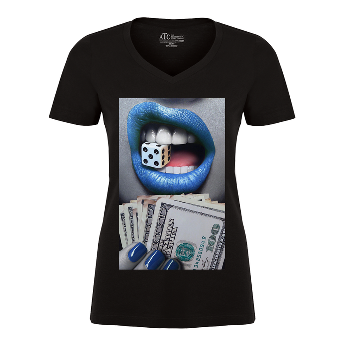 Women'S Blue Lips Biting A Dice - Tshirt