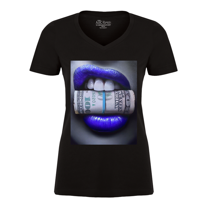 Women'S Blue Lips Biting Money - Tshirt