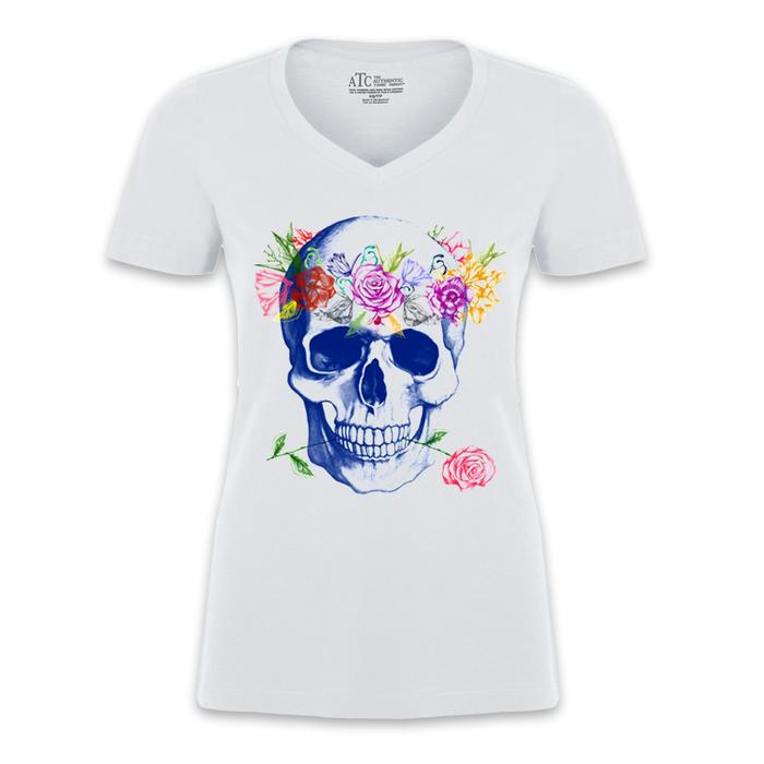 Women'S Colored Skull Print - Tshirt