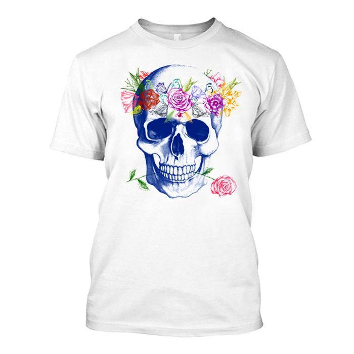 Men'S Colored Skull Print - Tshirt