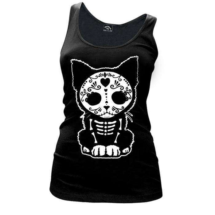 Women'S Day Of The Dead Sugar Skull Kitten Cat - Tank Top