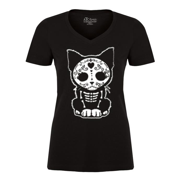 Women'S Day Of The Dead Sugar Skull Kitten Cat - Tshirt