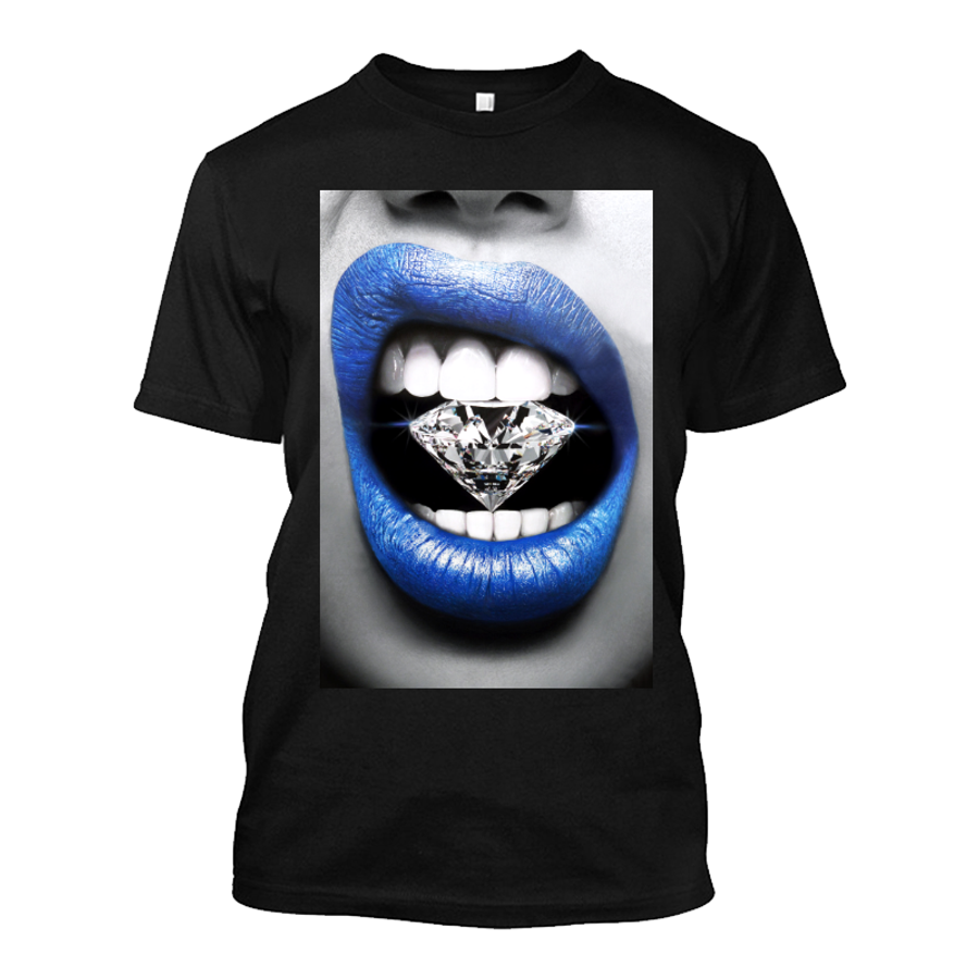 Men'S Blue Lips Biting Diamonds - Tshirt