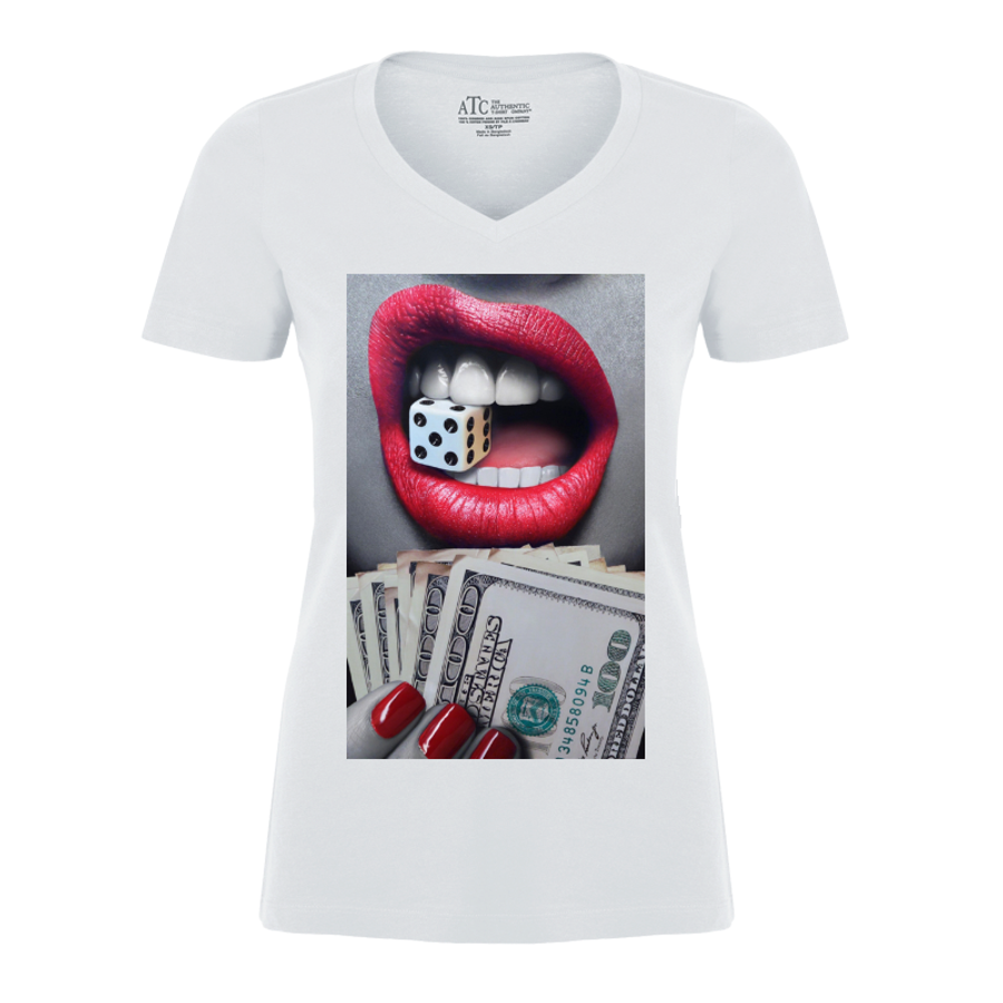 Women'S Red Lips Biting A Dice - Tshirt