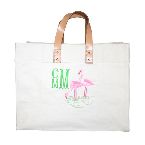 86dbf9d7c Embroidered Flamingo Canvas Bag Personalized - Snappy Turtle