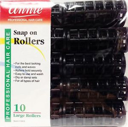 Annie Snap On Rollers 10 Large 7 8 Black
