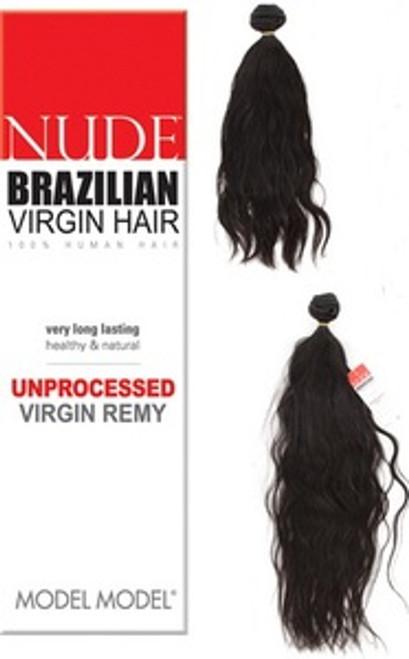 "Model Model Nude 100% Unprocessed Brazilian Virgin Remy Hair Weaving- 24"" Natural Black"