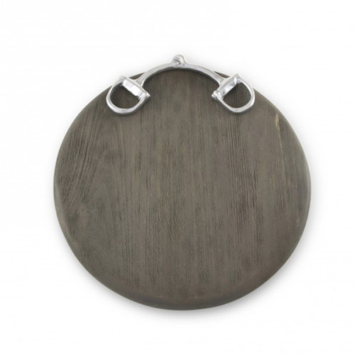"Snaffle Bit Cutting Board  12"" Round (GRAY WOOD)"