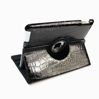 Black color Alligator pattern PU rotation case for IPad3 and IPad4
