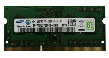 Samsung 2GB PC3-12800 DDR3-1600MHz non-ECC Unbuffered CL11 204-Pin SoDimm Single Rank OEM Notebook Memory M471B5773DH0-CK0
