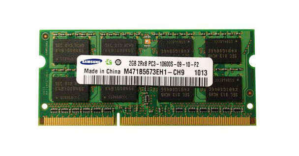 Samsung 2GB PC3-10600 DDR3-1333MHz non-ECC Unbuffered CL9 204-Pin SoDimm OEM Notebook Memory M471B5673EH1-CH9