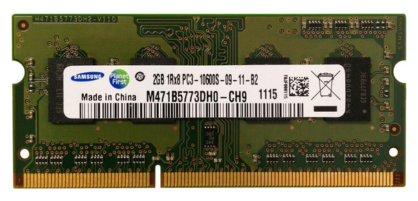 Samsung 2GB PC3-10600 DDR3-1333MHz non-ECC Unbuffered CL9 204-Pin SoDimm Single Rank OEM Notebook Memory M471B5773DH0-CH9