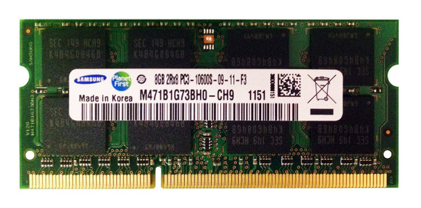 Samsung 8GB DDR3 1333MHz PC3-10600 204-Pin non-ECC Unbuffered SoDIMM Dual Rank Notebook Memory M471B1G73BH0-CH9