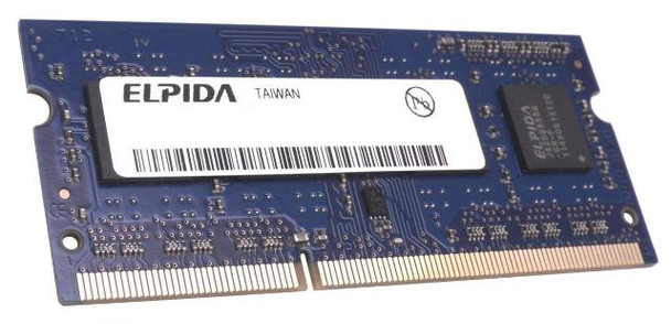 Elpida 8GB DDR3 1333MHz PC3-10600 non-ECC Unbuffered CL9 204-Pin SoDIMM Dual Rank Notebook Memory EBJ81UG8BAS0-DJ
