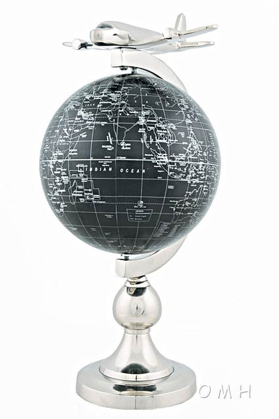 Airplane On Globe with Brass Stand