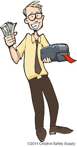 Man holding label printer and saving money