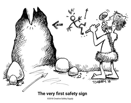 caveman safety sign