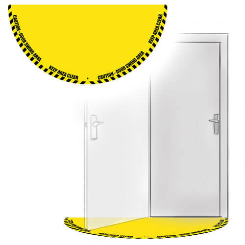 Door Swing Floor Sign - Half