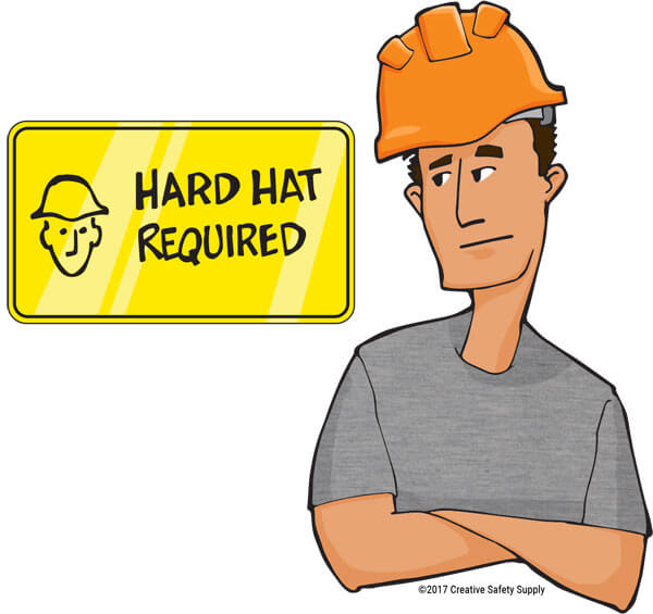 Worker and hard hat required sign