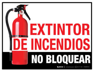 Spanish Fire Extinguisher Floor Sign