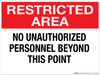 Restricted Area: No Unauthorized Personnel Beyond This Point - Wall Sign