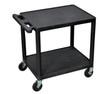 """Luxor Black 2 Shelf A/V Cart 26"""" H"""