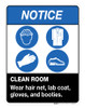 Notice - Clean Room - Wall Sign